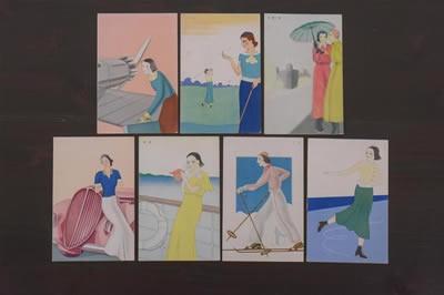 アンティーク雑貨 戦前 資生堂 絵葉書7枚セット(アールデコ)