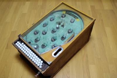 当時物 動確 木製 スマートボール ピンボール 手打ち ガラス玉付属 昭和レトロ 戦前