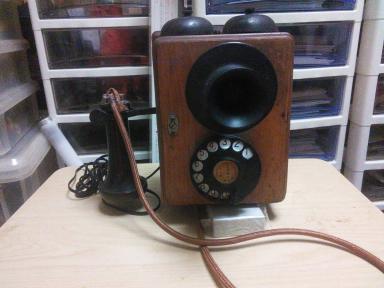 2号壁掛け電話機 実働品 検索用:戦前 大正ロマン